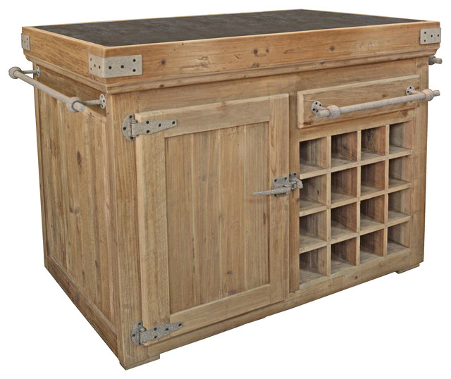 Country Reclaimed Pine Blue Stone Kitchen Island Transitional Kitchen