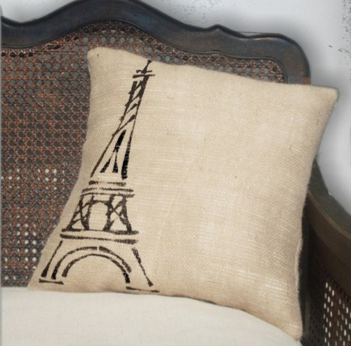 Eiffel Tower, Paris - Burlap Feed Sack Pillow by Next Door to Heaven eclectic-decorative-pillows