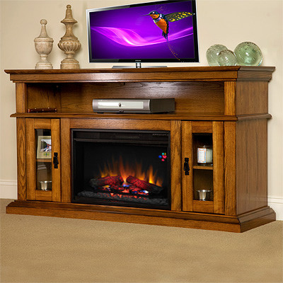 Brookfield Electric Fireplace Entertainment Center In Premium Oak 26mm2209 O10 Traditional