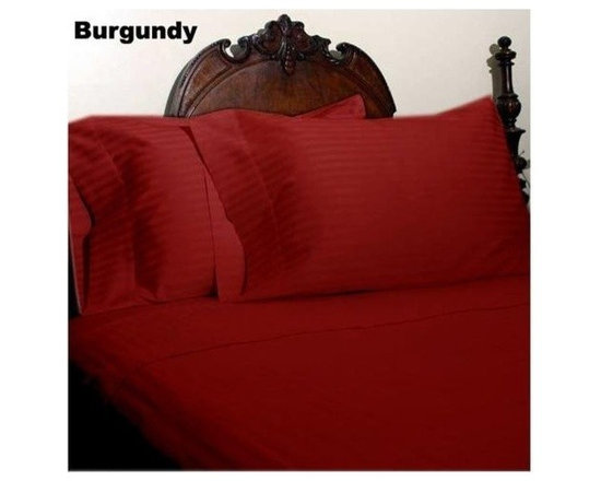 600TC Stripe Burgundy Flat Sheet & 2 Pillowcases - Redefine your everyday elegance with these luxuriously super soft Flat Sheet. This is 100% Egyptian Cotton Superior quality Flat Sheet that are truly worthy of a classy and elegant look.