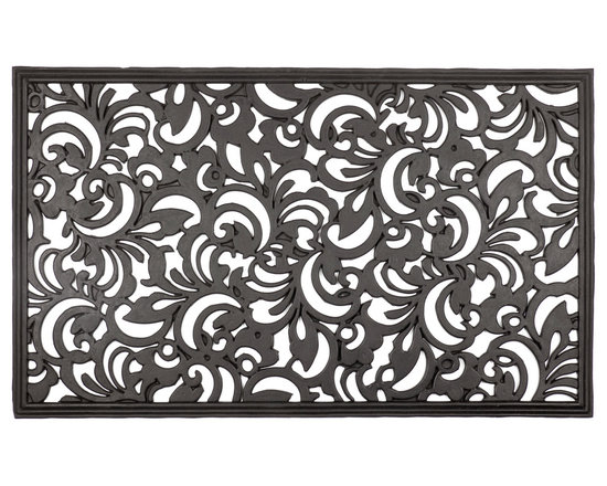 Entryways - Scroll Flowers Recycled Rubber Doormat - Add an elegant welcoming accent to your doorway