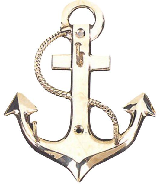 Brass Anchor Key Hanger - Beach Style - Wall Hooks - by Brass Binnacle