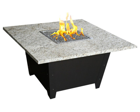 COOKE - Parkway Square Fire Pit Table - Santa Cecilia Granite Top with Bronze Base - This Fire Pit table is made in the USA with an all aluminum construction making it very durable and a great value. The table comes with a door for hiding the tank under the top. Made by us in California with precision CNC bending and laser cutting technology for impeccable quality and style. The So Cal fire pit table is perfect for heating up the evening on your patio or outdoor living area.