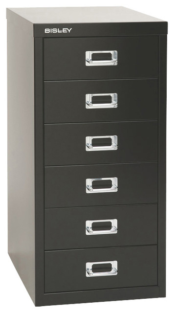 Bisley 6-Drawer Under Desk Multi-Drawer Cabinet in Black ...