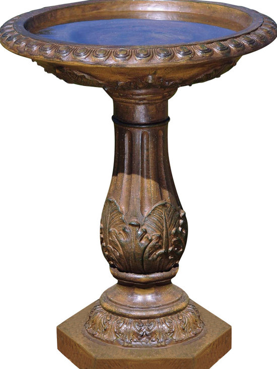 Bond - Bond Y97030 Torrie Birdbath - Welcome winged wildlife into your garden with this stunning antique design. Its overall splendor is enhanced by the lovely ornamentation on both rim and pedestal. Constructed of Envirostone.  Height: 29'' Width: 23.75'' Length: 23.75'' Weight: 22 lbs.