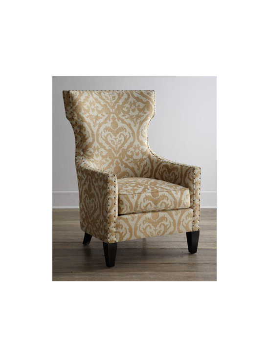 """Horchow - Emma Wing Chair - The classic wing chair reinvented—this one features shorten """"wings"""" for a refined hourglass appearance and tone-on-tone damask upholstery. Distinctive nailhead trim defines the frame. Frame made of Peruvian oak and select hardwoods. Vala hemp uph..."""