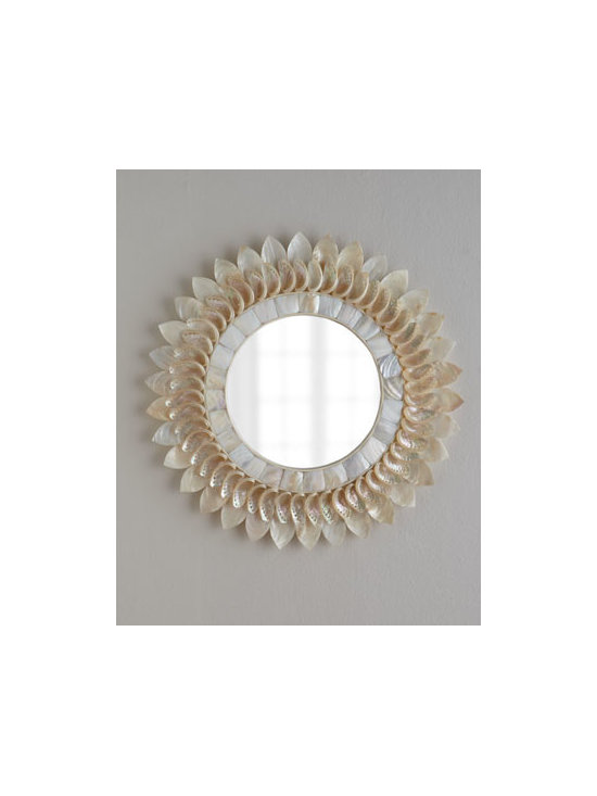 """Horchow - White Shell Floral Mirror - As much art as mirror, this charming piece adds a feminine touch to entryways, hallways, bedrooms—even a powder room. Handcrafted of fiberglass, abalone shells, and kabibe shells. 27""""Dia. x 2""""D. Imported. Boxed weight, approximately 20 lbs. P..."""