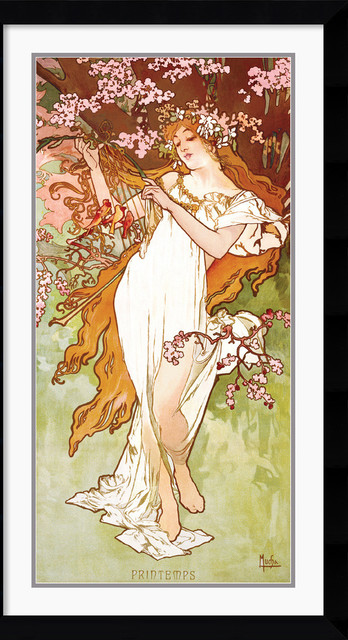 Printemps (Spring) Framed Print by Alphonse Mucha traditional-prints-and-posters