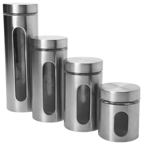Contemporary Brushed Steel And Glass Kitchen Storage Jars