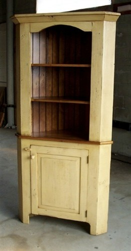 White Pine Painted Corner Cabinet - Farmhouse - boston ...