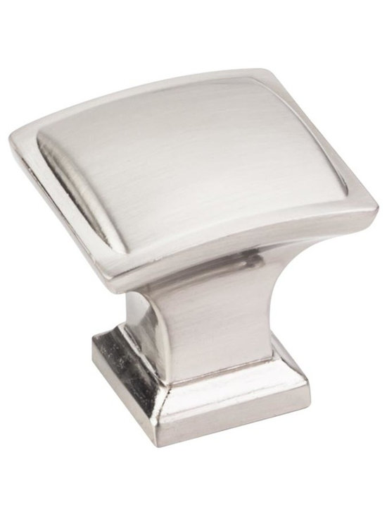 Jeffrey Alexander 435SN Cabinet Knob - Annadale Series - Satin Nickel Finish - 1 - This satin nickel finish square cabinet knob with pillow design is a part of the Annadale Series from Jeffrey Alexander. A perfect blend of craftmanship in traditional and contemporary design to complement any decor.