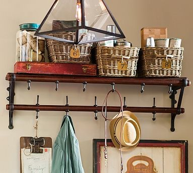French Cafe Wall-Mount Wood & Metal Coat Rack traditional-coat-stands-and-umbrella-stands
