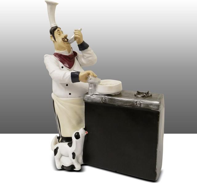 fat chef kitchen statue with black board figure table art