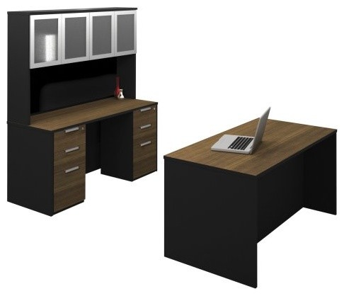 Bestar Pro-Concept Executive Kit with Dual Assembled Pedestals - Milk Chocolate contemporary-desks-and-hutches