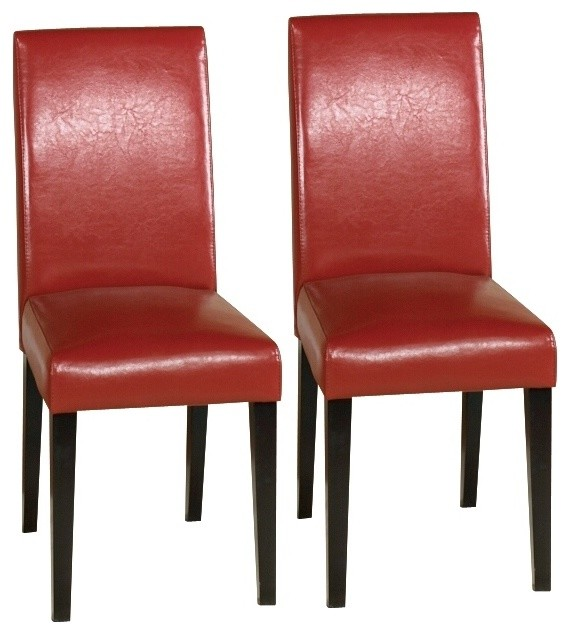Contemporary Set Of Two Red Leather Side Chairs Contemporary Dining Chair