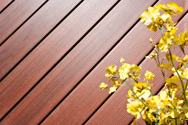 Wolf capped composite decking in mahogany traditional for Capped composite decking prices