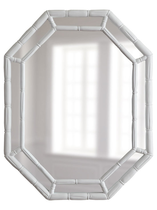 White Octagonal Mirror - The look of bamboo in a more modern octagonal design would be lovely in a bright space.