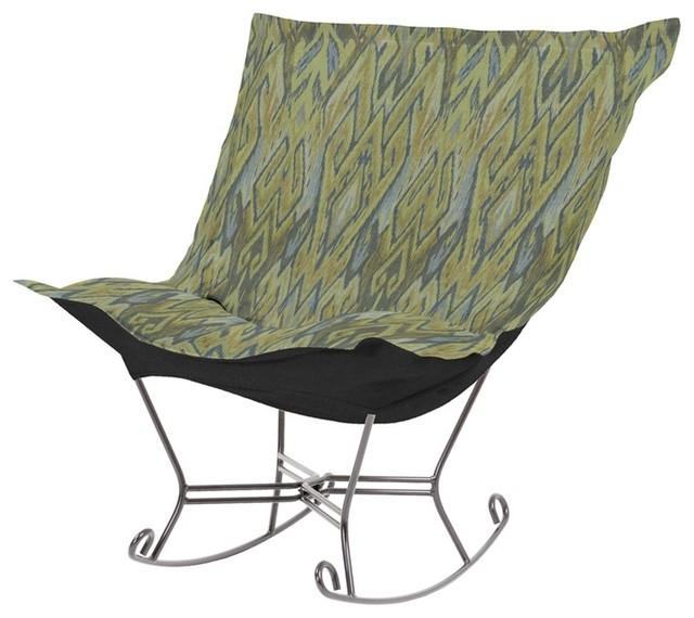 Howard Elliott Ikat Willow Scroll Puff Rocker - Titanium Frame modern-rocking-chairs