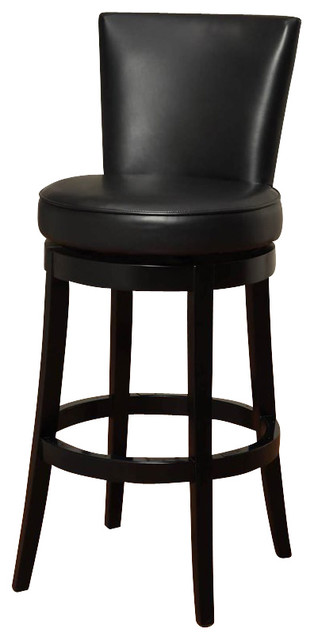 Armen Living Boston 30 Inch Black Bicast Leather Swivel Barstool transitional-bar-stools-and-counter-stools