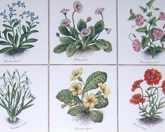 """Mottles Murals - Flower Ceramic Tile set of 6 / 4.25"""" Poppies Morning Glories Kiln Fired Decor - Flowering Plants Ceramic tile"""
