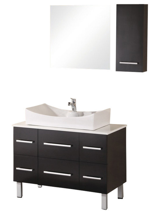 """Design Element - Design Element Paris 36"""" Espresso Modern Single Vessel Sink Vanity Set - The Paris 36"""" Vanity Set is uniquely designed and constructed of solid hardwood. The designer vessel sink and composite white stone counter top bring a crisp contemporary look to any bathroom. The reverse arch of the rectangular porcelain sink and white stone counter top, beautifully contrast with the sharp lines of the espresso cabinetry. This unique vanity design includes six drawers adorned with nickel finish hardware. Included is a tapered mirror and espresso soft closing cabinet with satin nickel hardware. The Paris 36"""" Vanity is designed as a center piece to awe-inspire the eye without sacrificing quality, functionality or durability."""
