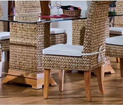 Hospitality Rattan Sea Breeze Indoor Seagrass 48 in. Pedestal Dining Table with modern-dining-sets