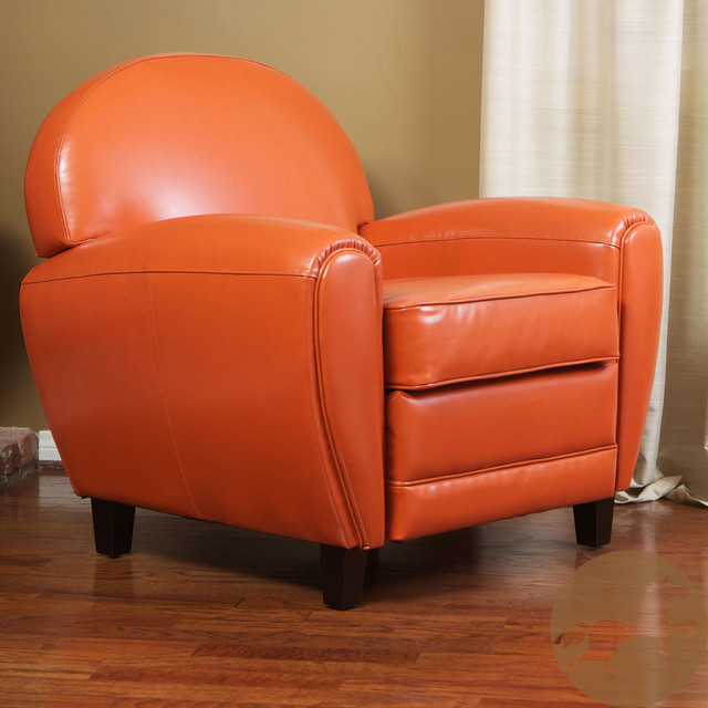 Christopher Knight Home Oversized Burnt Orange Leather Club Chair Contempor