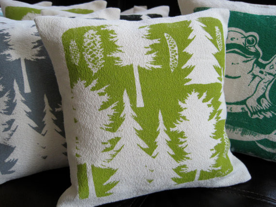 Pillow Green Pine Tree Maine Woods Hand Screened By erin flett contemporary-decorative-pillows