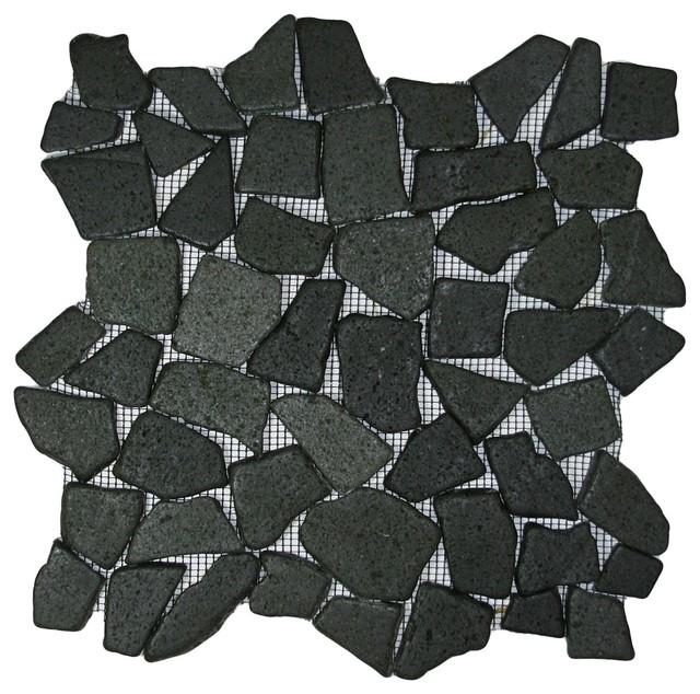 Glazed Black Mosaic Tile rustic-mosaic-tile