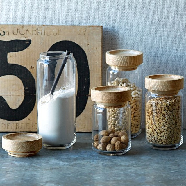 Wood + Glass Storage Jars contemporary-food-containers-and-storage