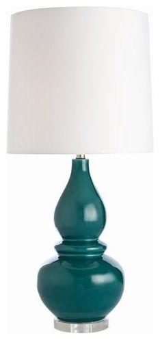Arteriors Paddy Teal Crackle Ceramic Acrylic Lamp traditional-table-lamps