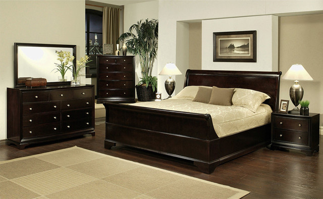 Abbyson Living 4 Piece Sleigh California King Size Bedroom
