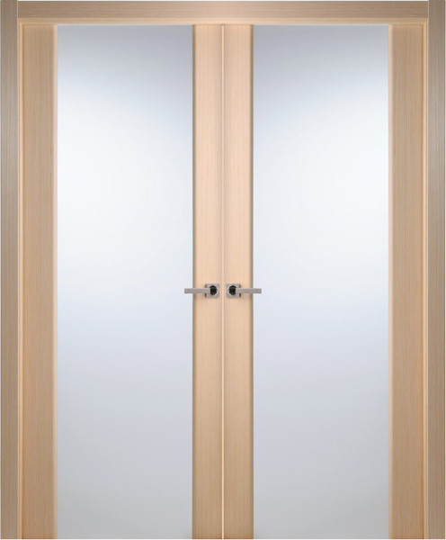 Contemporary Bleached Oak Veneer Interior Double Door, Frosted Glass - Contemporary - Interior ...