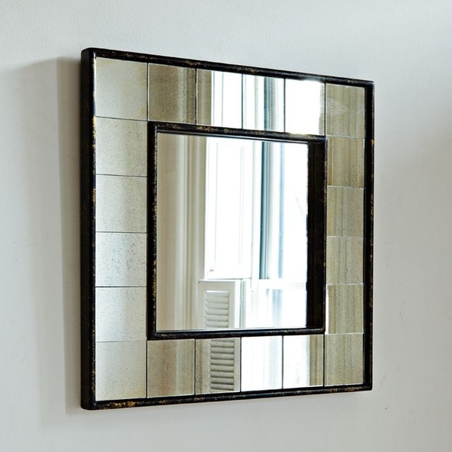 Antique Tiled Square Wall Mirror modern-tile