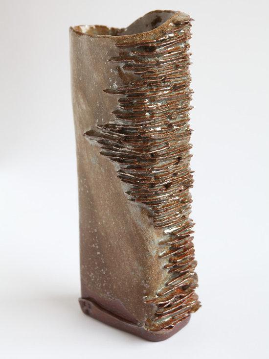 Beauty is in the Eye... - Medium Shino glazed rectangular stoneware textured vessel, suitable to hold liquids.Sam Ryley