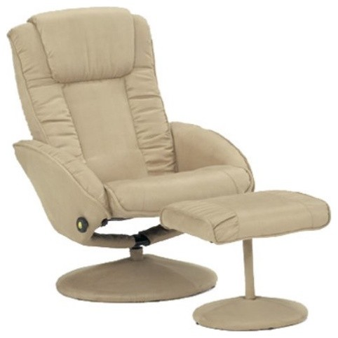 Bone Leatherette Recliner and Ottoman contemporary-accent-chairs