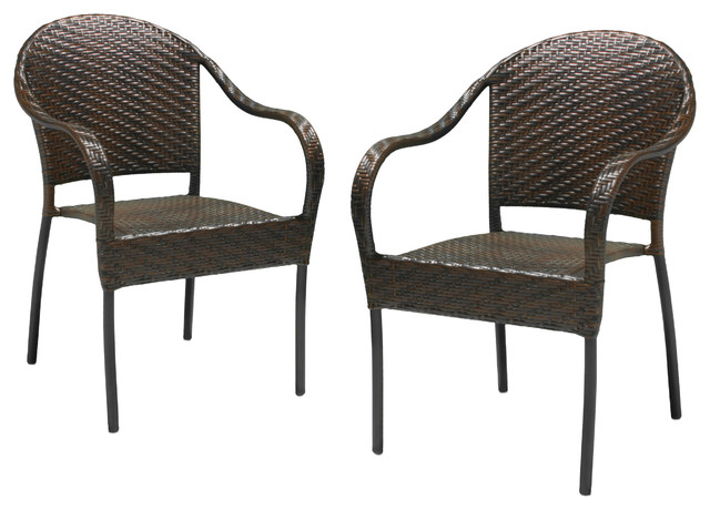 Rancho Outdoor Brown Grey Wicker Stackable Chairs Set Of