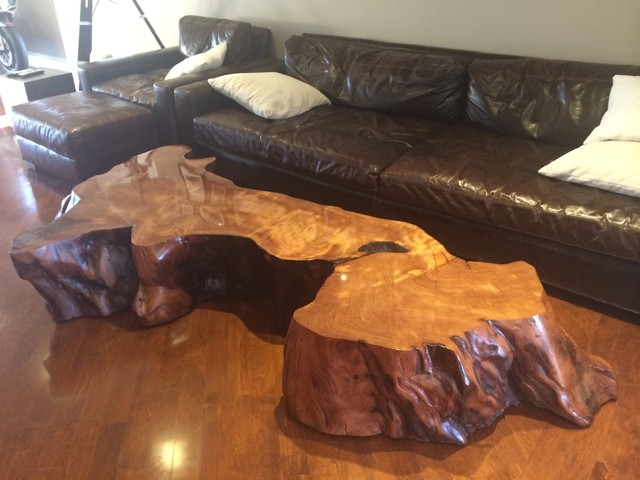 large redwood slab coffee table Contemporary los  : contemporary from www.houzz.com size 640 x 480 jpeg 68kB