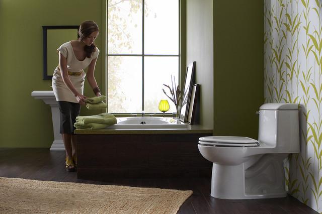 Green bathroom suite
