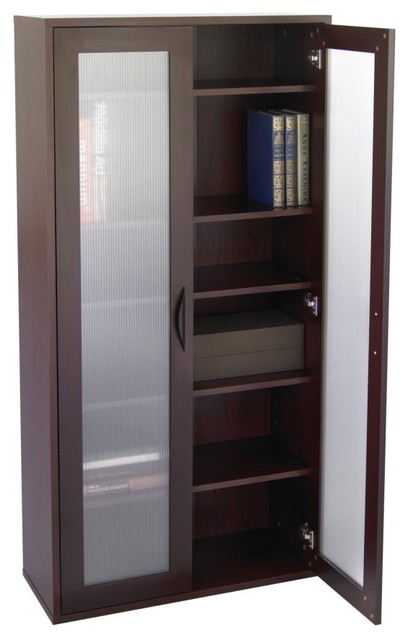 Storage Bookcase with Glass Doors Tall - Mahogany - Modern - Bookcases - by Hayneedle