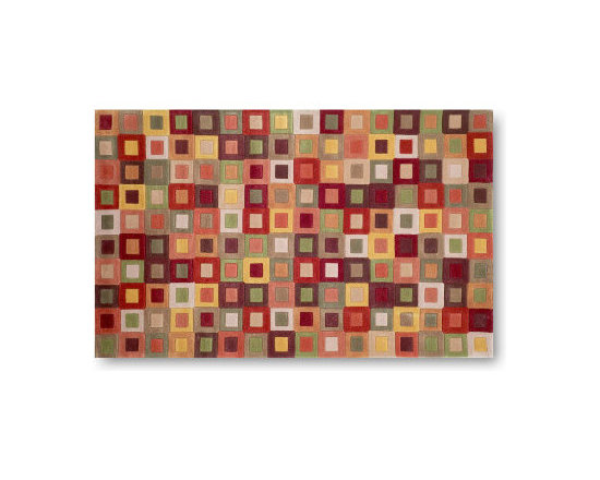 """Grandin Road - Amalfi Squares Area Rug in Autumn - 2' x 3' - 50% polypropylene and 50% acrylic. Designed by Liora Manne. Hand-tufted. 1/4"""" thick1/4"""" thick. Our Amalfi Squares Area Rug in Autumn is a contemporary design that uses a blend of synthetic fibers to create a soft yet durable rug. Vibrant combinations of autumn colors make this decorative area rug perfect for any room. .  . . 1/4"""" thick. . 1/4"""" thick. Professionally dry clean, spot clean when needed."""
