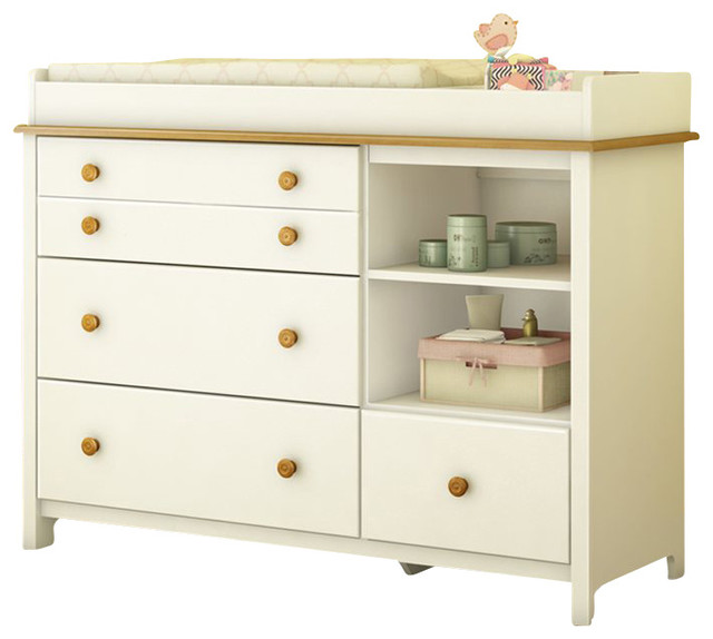 South Shore Little Smiley Changing Table in Pure White & Harvest Maple contemporary-changing-tables