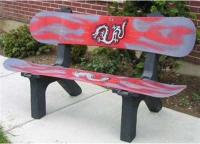Skichair Snow Board Bench Red modern-patio-furniture-and-outdoor-furniture