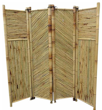Bamboo screen 4 panels self standing 72 w x 72 h for Garden dividers screens