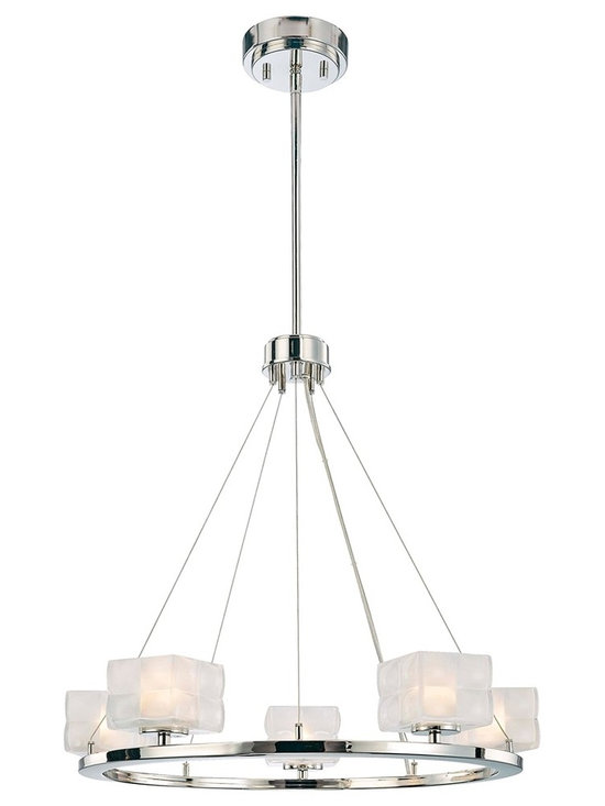 "George Kovacs - George Kovacs Squared 23"" Wide Pendant Light - A graceful way to illuminate your dining table this pendant light features five clear inside etched glass squares that define the Squared collection. The round polished nickel base creates a simple platform to complete the contemporary look. Another stunning design from George Kovacs. Includes five 40 watt G9 xenon bulbs. 18 1/2"" high. 23"" wide. Adjustable to 25"" min 63"" max.  Polished nickel finish.  From the George Kovacs pendant light collection.  Clear inside etched glass.  Includes five 40 watt G9 xenon bulbs.  18 1/2"" high.  23"" wide.  Adjustable to 25"" min 63"" max."