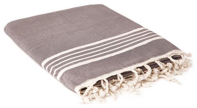Hammam Towel With Terry Lining, Dark Gray contemporary-bath-towels