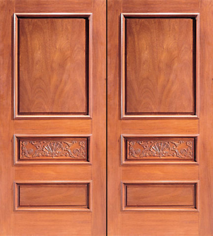 Prehung Double Door Hand Carved Colonial 3 Panel In