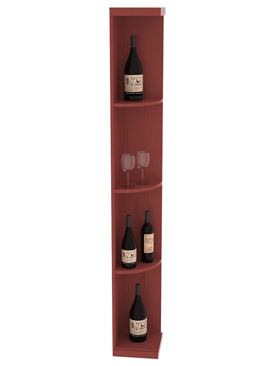 Quarter Round Wine Display in Pine with Cherry Stain + Satin Finish - Highly decorative Quarter Round Wine Displays are the perfect solution to racking around corners. Designed with a priority on functionality, these wine storage units are excellent as end caps to walls of wine racking or as standalone shelving.