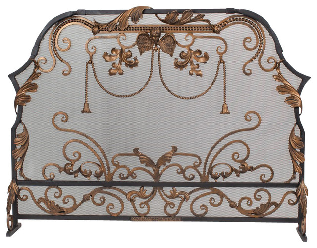 Dark Bronze Luxury Iron Fireplace Screen on a Black Base traditional-fireplace-accessories
