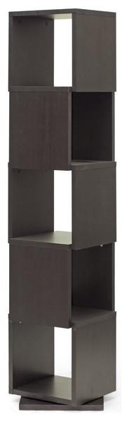 Baxton Studio Ogden Dark Brown 5-Level Rotating Modern Bookshelf contemporary-bookcases